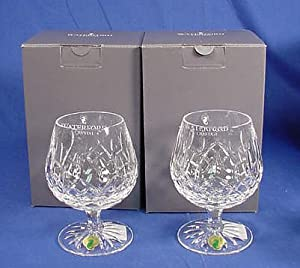 Waterford crystal lismore brandy balloon glass pair snifter glasses snifters - Waterford cognac glasses ...