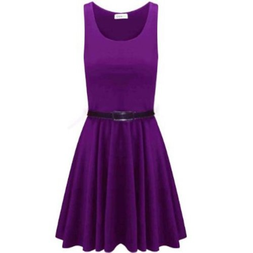 Womens Belted Sleeveless Flared Franki Short Party Ladies Skater Dress Top  (UK 20 22 a72bb3c80