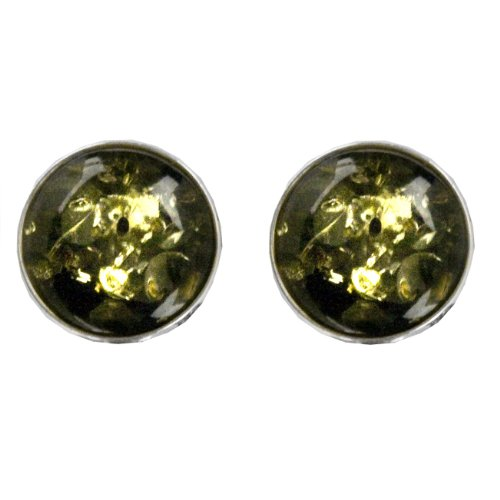 Sterling Silver Green Amber Round Stud Earrings