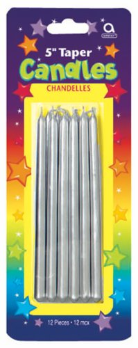 Amscan Shiny Tapered Birthday Candle, Silver, 5""