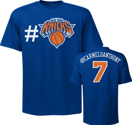 NBA Majestic Carmelo Anthony New York Knicks #7 Twitter T-Shirt – Royal Blue (X-Large)