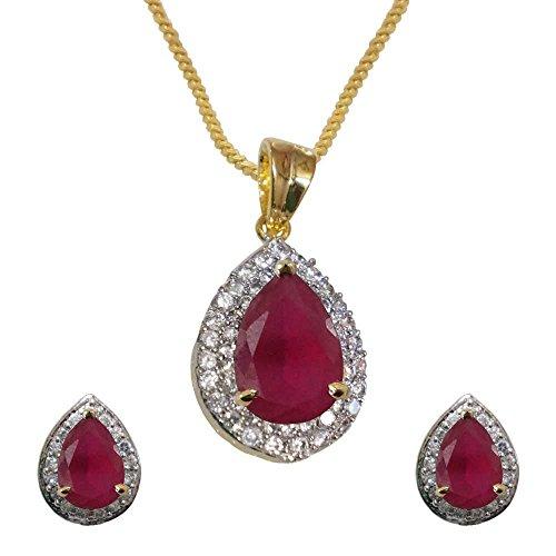 Sheetal Jewellery Red Brass & Alloy Pendant Set For Women