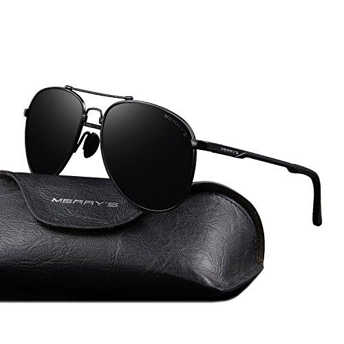 MERRY'S Male Classic Brand Aviation Sunglasses HD Polarized Aluminum Driving TR90 Titanium Bridge Sun glasses S8716 (Black) steampunk buy now online