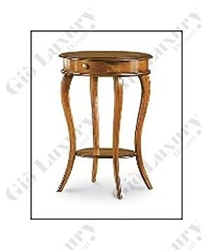 Mesa de centro redonda con cajón, estilo clasico, en madera maciza y mdf con acabado nogal pulido - Medidas 50 x 50 x 74