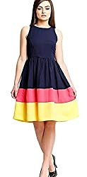 Clickedia Girl's & Women's Cotton Georgette Navy Blue Yellow Kurti