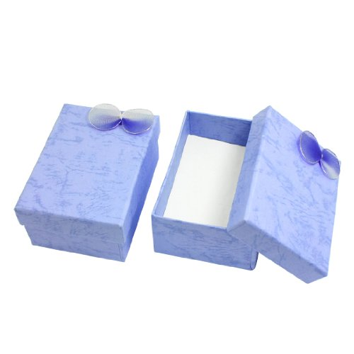 Rosallini 2 Pcs Light Purple Bowtie Cuboid Jewelry Pack Gift Cardboard Case Box
