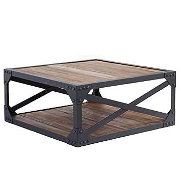 Indhouse - Mesa de centro en hierro y madera Boston