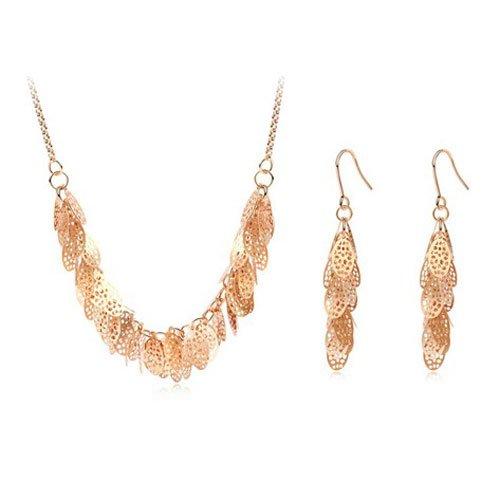 """Mqueen 16"""" Golden Multi Leafs Drop Chandelier Necklace Dangle Earrings Jewelry Set front-305602"""