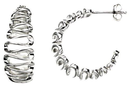 Sterling Silver Swirl Hoop Earrings.