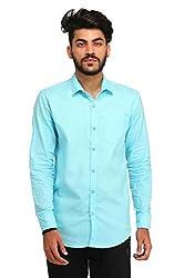 Snoby sky blue plain cotton shirt SBY8059