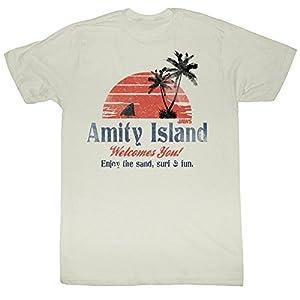 Jaws - Amity Island Mens T-Shirt In Dirty White, Medium, Dirty White