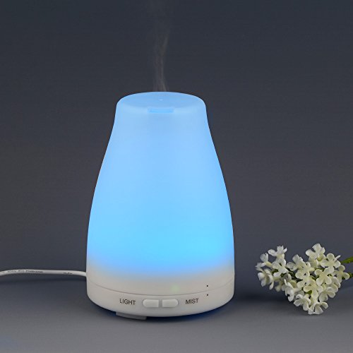 InnoGear® 120ml Aromatherapy Essential Oil Diffuser Portable Ultrasonic Cool Mist Aroma Humidifier With Color LED Lights Changing and Waterless Auto Shut-off Fuction for Home Office Bedroom Room