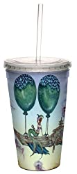 Tree-Free Greetings cc33586 Fantasy Dreaming on Aquamarine Tides Artful Traveler Double Walled Cool Cup with Reusable Straw by Amy Brown, 16-Ounce