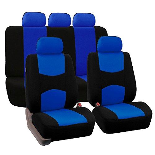 Fh-Fb050115 Flat Cloth Car Seat Covers Blue / Black Color front-909746