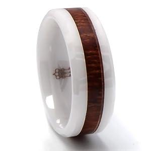 Three Keys Jewelry 8mm Faceted White Ceramic Men's Wedding Band Engagement Ring With Hawaiian Koa Wood Inlay Size 11 from Three Keys Jewelry