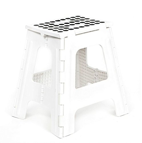 Kikkerland Rhino Tall Folding Step Stool White Hardware