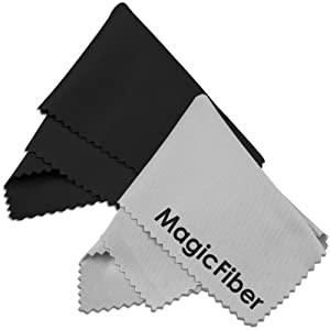 (2 Pack) MagicFiber Microfiber Cleaning Cloths - For Tablets, Lenses, and Other Delicate Surfaces (1 Black, 1 Grey)