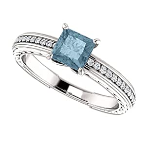 18K White Gold Princess Cut Blue and White Diamond Engagement Ring