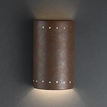 Justice Design CER-0995-PATR, Ambiance Ceramic Wall Sconce Lighting, 150 Watts, Patina
