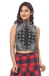 Abony Black Printed Women's Crop Top