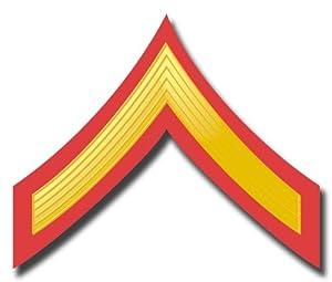 "US Marine E-2 Private First Class Red/Gold Chevron Rank Insignia Decal Sticker 3.8"" 6-Pack"