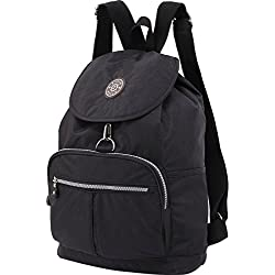 ZYSUN Women's Nylon Washable Light Weight Travel Backpack - black