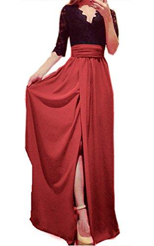 New Sexy Ladies Fashion Half Sleeve V Neck Side Slit Cocktail Party Maxi Dress (L, Black+Pink)