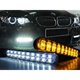 JDM Style 30 LED DRL Daytime Running Light Kit With Amber Turn Signals