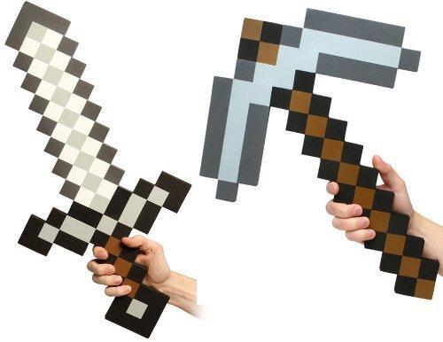 Minecraft Spitzhacke und Schwert aus Schaumstoff, Set mit 2 Stück
