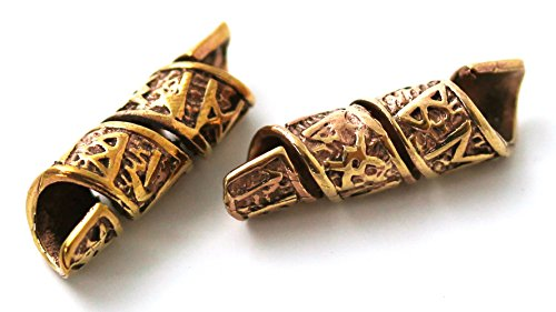 Bronze Norse Viking Celtic Beard Beads Rings, Medieval Dwarf Dreadlock Pirate Hair Beads, Pagan Jewelry (Jack Sparrow Skull Ring compare prices)