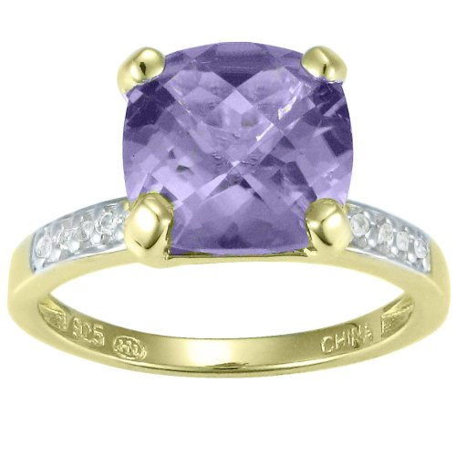 18k Gold Over Sterling Silver Amethyst and Diamond Accent Ring, Size 8