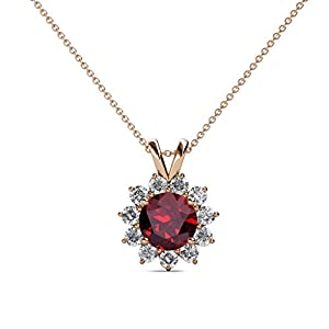 Ruby and Diamond Floral Halo Pendant 1.28 ct tw in 14K Rose Gold with 18 Inches 14K Gold Chain
