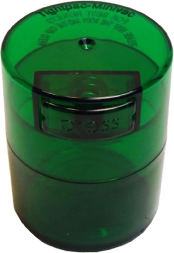 Tightvac Minivac 1-Ounce Vacuum Sealed Dry Goods Storage Container, Emerald Tinted
