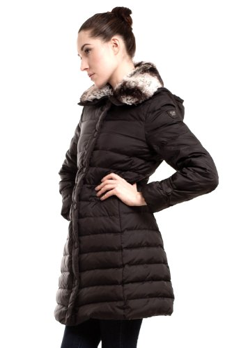 Happy Goat Lucky Kristan mid length down coat with Rex Fur trimmed collar detachable hood. Size XS, Black.