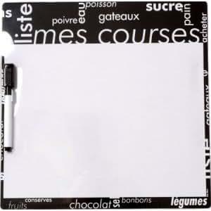 Tableau m mo courses magn tique typo couleur blanc mati re plastique amazon - Tableau magnetique cuisine ...