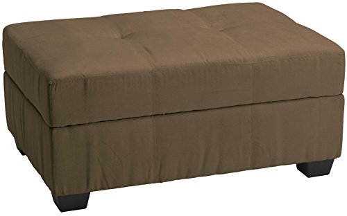 Epic Furnishings Microfiber Suede Upholstered Tufted Padded Hinged Storage Ottoman Bench, 36 by 24 by 18-inch, Mocha Brown