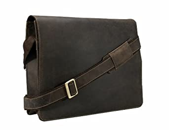 Visconti Leather Distresserd Messenger Bag 18548-HARVARD (Oil Brown)