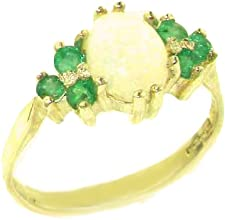 Ladies Contemporary Solid 14K Yellow Gold Natural Opal amp Emerald Ring - Finger Sizes 5 to 12 Avail