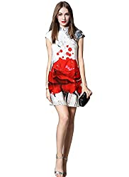 Rozdeal New White & Red Faux Georgette Designer Western Wear