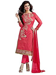Sanjana Women's Pink Cotton Unstitch embroidered designer Dress Material (SC9425_Free Size_Pink)