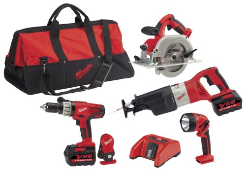 41CKK8CQGTL Milwaukee 0928 29 28 Volt Lithium Ion Cordless 4 Tool Combo Kit