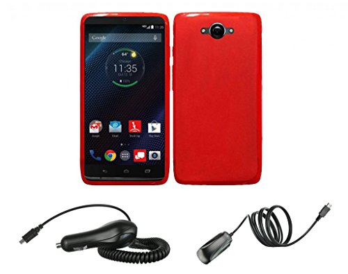 Motorola Droid Turbo - Red Flexible Tpu Slim Fit Gel Skin Cover Case + Atom Led Keychain Light + 2.1A (2100 Mah Output) Micro Usb Car Charger + (850 Mah) Wall Charger