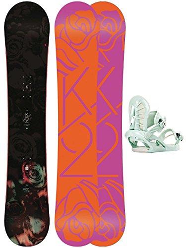 Damen Snowboard Set K2 First Lite 138 + Charm Mist M Snowboard Set
