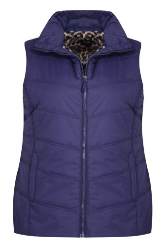 Purple Padded Gilet With Zip Fastening And Animal Print Lining – Size 20