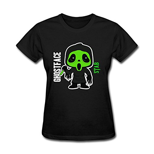 WEREXC Customized t-shirts for Woman 100% Cotton-Scream Ghost Face Stab Box Green Mask Black L