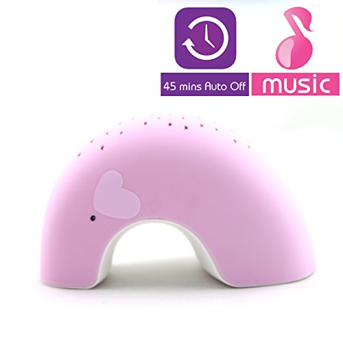 """Lumitusi - Pink Elly """"Easy Clean, Lullaby"""" Twilight Constellation Elephant Projector Night Light With Music, Rubber Finishing"""