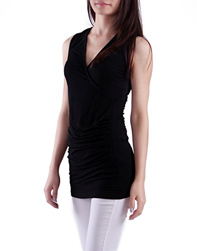 HDE Women's Jersey Tank Top Deep Surplice V Neck Ruched (Black, Large)