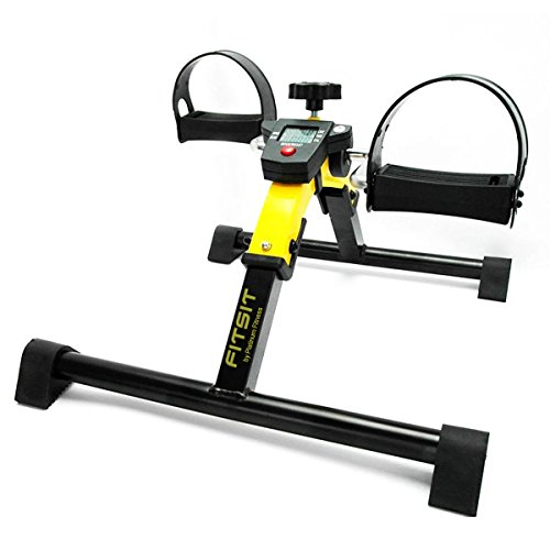 Platinum Fitness FitSit Deluxe Folding Pedal Exerciser Leg Machine with Electronic Display, Yellow