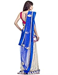 Chhabra555 Blue Net One Minute Saree - B00J4RPDMA