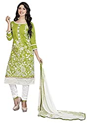 Women Icon Presents Chudidar Dress Material(Green,White)